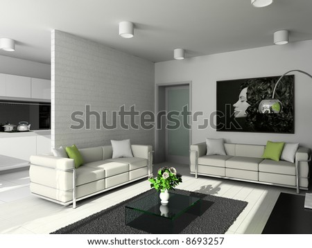living-room with the modern furniture. 3d render. - stock photo