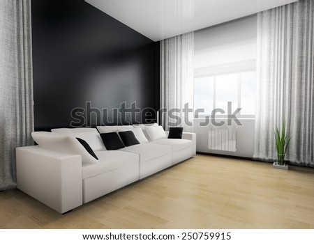 living-room with the modern furniture. 3d rendering