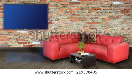 Living room with tv on wall. - stock photo