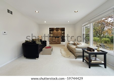 Living room with view into family area - stock photo