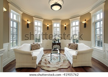 Living room with wall sconces - stock photo