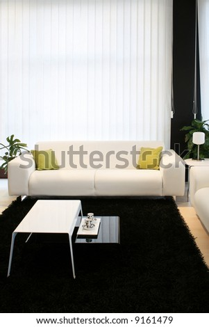 Living Room With White Sofa And Black Carpet Part 44