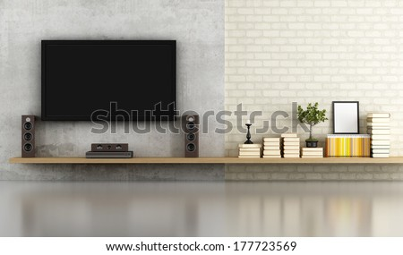 living room without furniture with shelf ,tv and concrete panel - rendering - stock photo