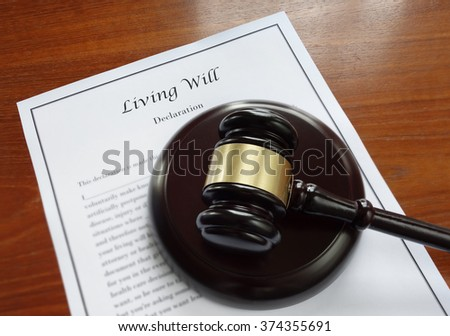 Living Will document and legal gavel