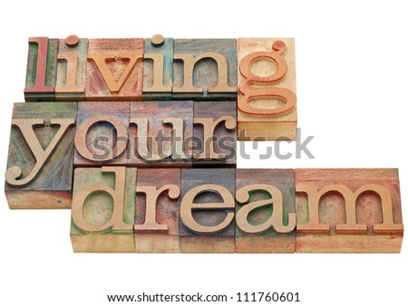 living your dream  - happiness concept - isolated phrase in vintage letterpress wood type