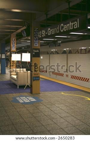 Livingroom in Subway Station - stock photo