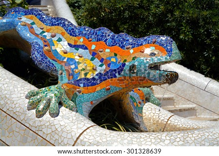 Lizard Fountain at Park Guell in in Barcelona, Spain - stock photo