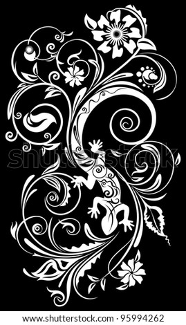 Lizard in a stylized floral ornament - stock photo