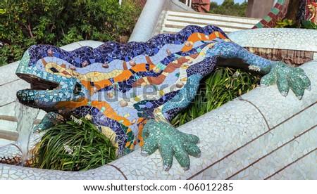Lizard mosaic sculpture - stock photo