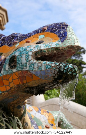 Lizard of ceramic at the park of guell at Barcelona - stock photo