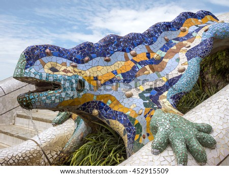 Lizard of Gaudi mosaic in park Guell of Barcelona - stock photo