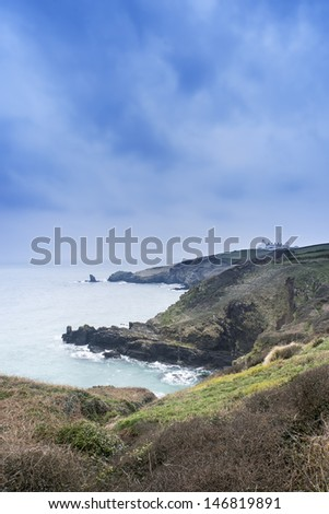 Lizard Point and lighthouse, the most Southerly point in Britain - stock photo