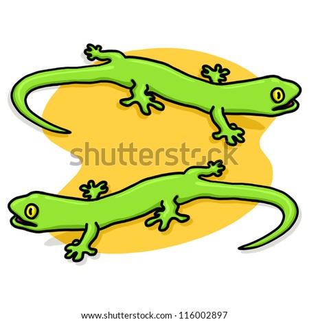 Lizards Illustration Two Green Geckos Drawing Stock Illustration