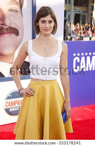 Lizzy Caplan at the Los Angeles premiere of 'The Campaign' held at the Grauman's Chinese Theatre in Hollywood, USA on August 2, 2012. - stock photo