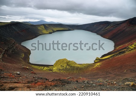 Ljotipollur volcanic crater lake in Iceland - stock photo