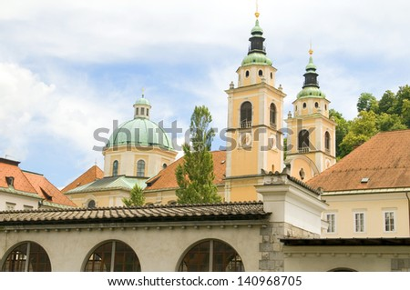 Ljubljana Cathedral St. Nicholas Church Slovenia Europe in old town - stock photo