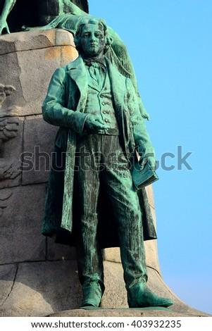 LJUBLJANA - DECEMBER 19 : France Preseren statue at 19 December, 2015 in Ljubljana, Slovenia. Preseren is the national composer of Slovenia. - stock photo