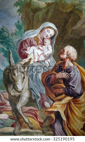 LJUBLJANA, SLOVENIA - JUNE 30: Flight to Egypt, fresco in the St Nicholas Cathedral in the capital city of Ljubljana, Slovenia on June 30, 2015 - stock photo