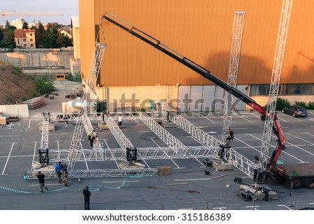 Ljubljana, Slovenia - June 18, 2015. Flow Festival Ljubljana,Tabacna, preparations for the festival, stage under construction.