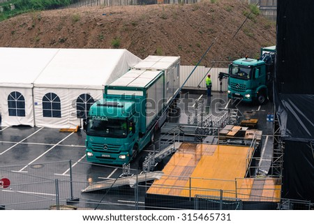 Ljubljana, Slovenia - June 23, 2015. Flow Festival Ljubljana,Tabacna, preparations for the festival, back stage with equipment boxes.