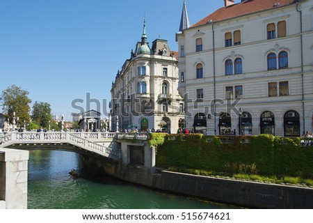 Ljubljana, Slovenia, September 25, 2016: City center, Ljubljanica River and the Triple Bridge.