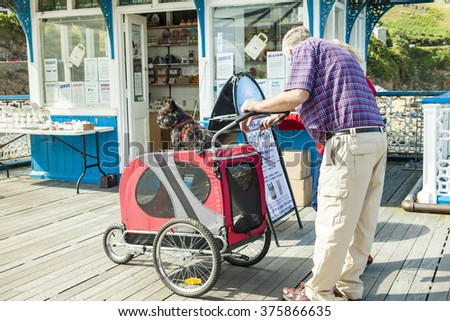 Llandudno, UK.: September 9th 2015-Elderly couple with Scottie dog sitting atop of a pet pram,the man and woman are looking at a board advertising arthritis and joint pain remedies on Llandudno pier. - stock photo