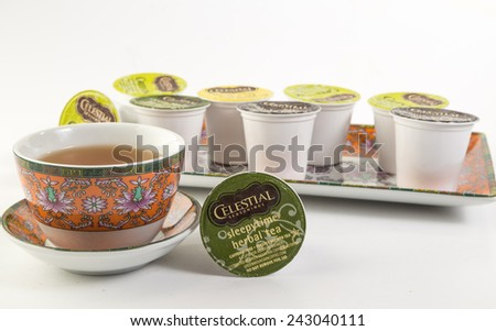 LLANO, TEXAS-Jan 10, 2015:   Assortment of Green Mountain Teas in colorful Chinese Pattern Dishes.  Keurig Individual K-cup single servings. - stock photo