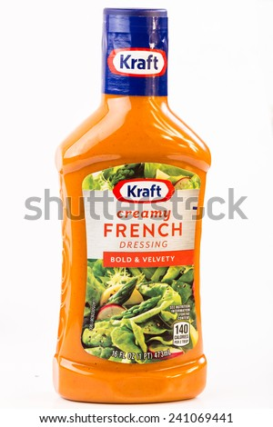 LLANO, TEXAS-Jan 01, 2015: Bottle of Kraft French Dressing isolated on white background in vertical format with copy space. - stock photo