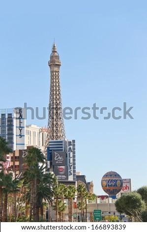 lLAS VEGAS, NEVADA, USA - OCTOBER 20 : City landscape on October 20, 2013 in Las Vegas, Nevada. 40 million tourists visited Las Vegas in 2012  - stock photo
