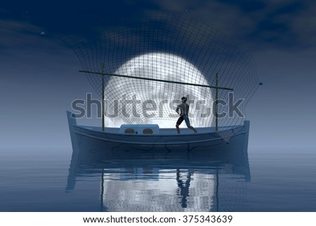 llaud traditional boat in the night of Balearic Islands, Spain - stock photo