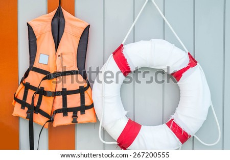 Llife jacket ,life buoys - stock photo