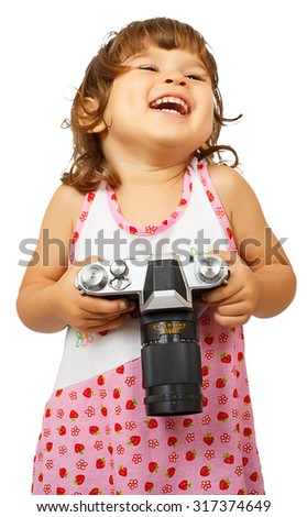 Llittle cute girl with camera isolated on white background - stock photo
