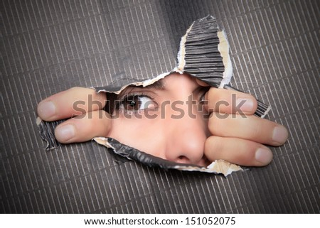 lloking through the first crack - stock photo