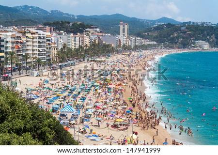 Lloret de mar spain 28 july tourists enjoy at the - Plastics blanes ...