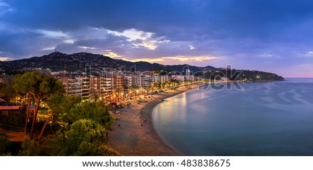 LLORET DE MAR, SPAIN - JUNE 24, 2016: Panorama of Lloret de Mar in Catalonia, Spain. Lloret de Mar is most popular Costa Brava resort and located only 75 km from Barcelona.