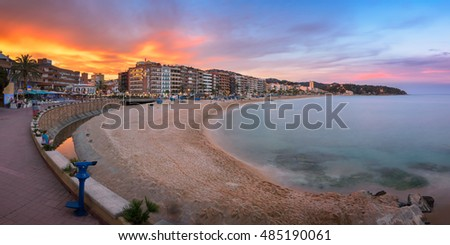 LLORET DE MAR, SPAIN - JUNE 20, 2016: Panorama of Lloret de Mar Seafront in Catalonia, Spain. Lloret de Mar is most popular Costa Brava resort and located only 75 km from Barcelona.