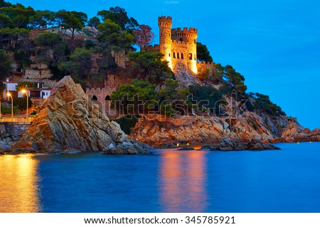 Lloret de Mar sunset at Costa Brava of Girona at Catalonia spain - stock photo