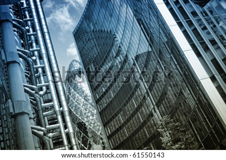 """Lloyd`s Building, """"The Gherkin"""" and Willis Building - stock photo"""