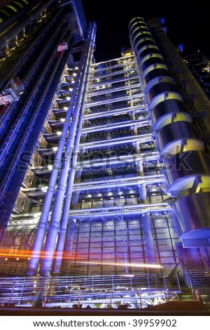 Lloys building at night, London city. - stock photo