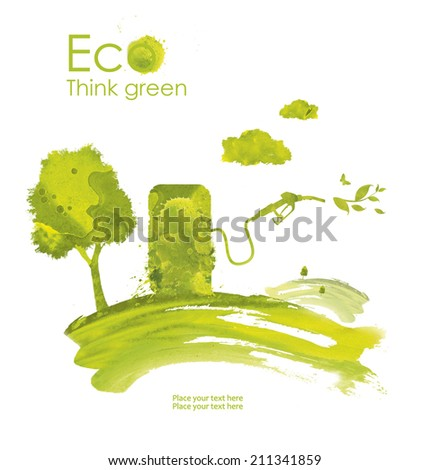 llustration environmentally friendly planet.Green gas pump nozzle and biofuel, hand drawn from watercolor stains, isolated on a white background. Think Green. Eco and alternative energy concept. - stock photo