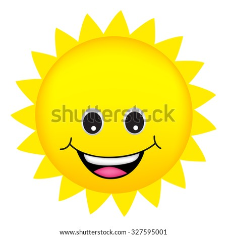 llustration of a cute cartoon sun isolated on white background - stock photo
