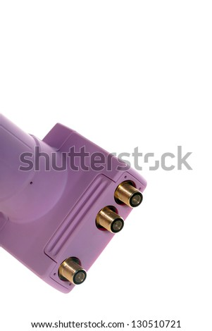 LNB inputs and outputs for connecting coax cable - stock photo