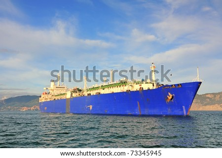 LNG, Liquefied Natural Gas tanker ship in mediterranean coast - stock photo