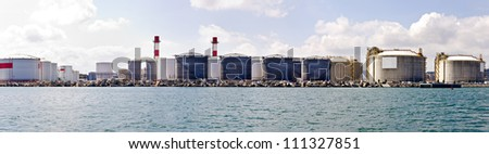 LNG Tanks at the Port of Barcelona - stock photo