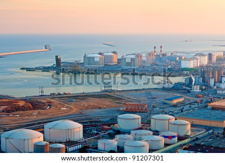 LNG Tanks at the Port of Barcelona at Sunset - stock photo