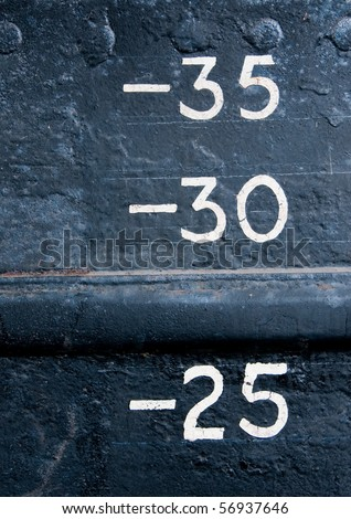 Load markings on canal barge - stock photo