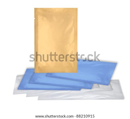 loaded aluminum foil bags package with fine cut and work path - stock photo