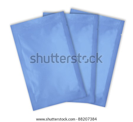 loaded blue aluminum foil bag package with fine cut and work path - stock photo