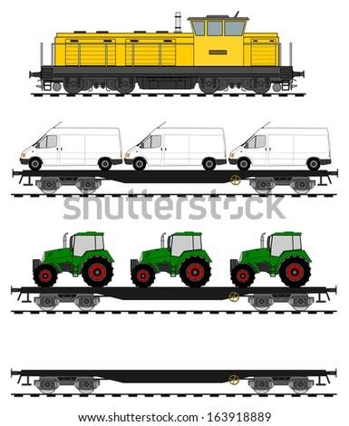 Loaded flat cars train set. - stock photo