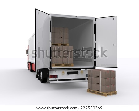 loaded trailer - stock photo